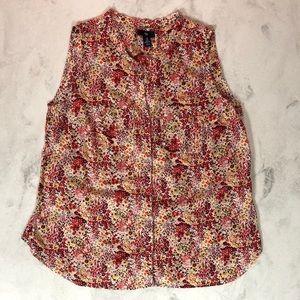 GAP Sleeveless Cotton Floral Blouse Size M